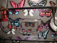 Satchel Cross Body Shoulder Hand Bag School Girls Ladies Grey Butterfly