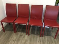4 x red faux leather dining room chairs