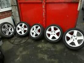 Set of 5 Peugeot alloy wheels 17 inch