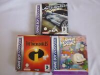 Nintendo Game Boy Advance GBA Need For Speed: Most Wanted Incredibles Rugrats