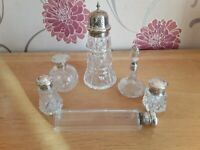 Glass silver top perfume Bottles and glass silver top shaker