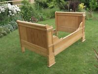 Vintage French small double (4') bed in old pine