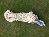 Galvanized Grapnel Anchor, Rope and Pick-up Buoy