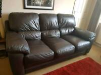 Harvey's Brown Leather Sofa
