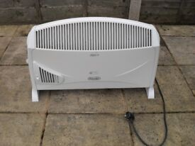 DELONGHI electric heater with fan boost and timer.
