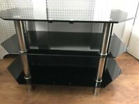 Black Glass-Topped Television Stand
