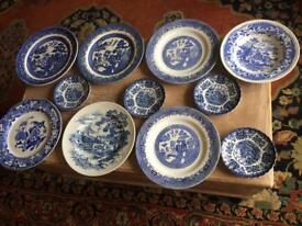 Blue/white willow china plates