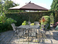 Patio Chairs, Table, Wind-up Parasol, plus cushions