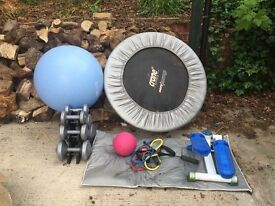 Assortment of fitness equipment