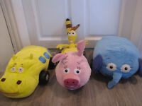 4 x JUNGLE JUNCTION DISNEY SOFT TOYS WITH PLASTIC WHEELS