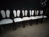 4 ANTIQUE MAHOGANY DINING CHAIRS AND 2 CARVER CHAIRS ALL IN GOOD CONDITION £60