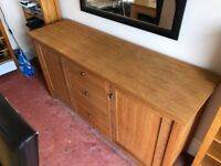NEXT solid wood sideboard good condition has a coffee mug stain