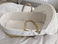 New John Lewis Waffle Moses Basket, White; 100% cotton sheets; muslin squares