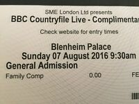 COUNTRYFILE LIVE AT BLENHEIM PALACE FAMILY TICKET SUNDAY 7TH AUGUST