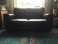 Leather 2 seater brown sofa - very comfortable, good condition