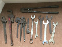 "Job lot of quality tools inc. 25"" Record bolt cutters and spanners"