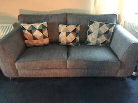 3 seater sofa in a blue tweed with matching chair