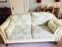 Cream stripe/ floral sofa and armchairs x2