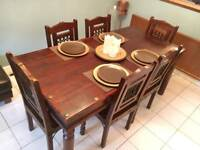 Mahogany Wood 6 Seat Dining Table with Chairs