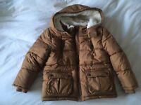 Tan fleece lined coat age 4-5