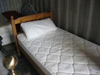 MODERN ORNATE SOLID PINE SINGLE BED WITH MATTRESS. DISMANTLES. VIEWING/DELIVERY AVAILABLE