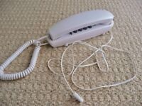 White Slimline Corded Telephone Touch Tone -Wall Mountable or Desk Telephone Home Office Single