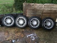 "Team dynamics 4x100 15"" alloy wheels and good tyres"