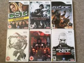 6 x Wii Games LIKE NEW CONDITION.
