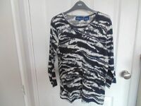 Ladies Black, Grey and White T Shirt with Silver Sequin Design