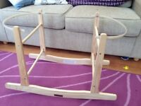 Wooden rocking Moses basket stand