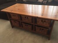 IKEA wooden coffee table with storage