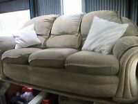 Fabric 3 seater + 2 chairs light brown with pattern VGC delivery available £35