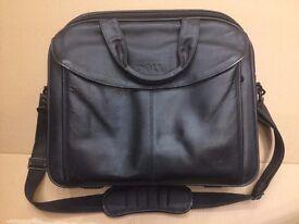 "Dell Black LEATHER Computer / Laptop Bag Briefcase ~ Bag / Case fits 15"""