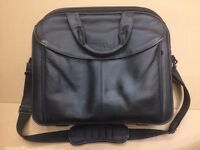 Dell Black LEATHER Computer / Laptop Bag Briefcase ~ Bag / Case fits 15""