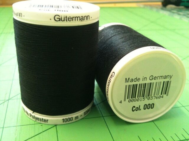 Sewing Thread Gutermann 2T1000/BLK Black 100% Polyester  1000 meters Pack of 1