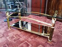 glass top and mirrored shelf coffee table exceptional condition
