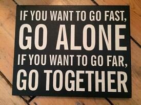 Go far together box sign