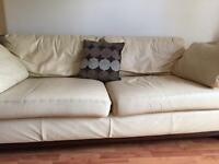 Cream leather sofa 3 seater & two single seats
