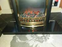 Electric fire and marble hearth