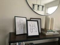 3 Abstract Prints + frames