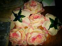 White and pink rose broaches
