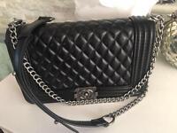 Chanel le boy leather bag, large size cc handbag