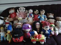 soft toys including betty boop,mercats,the simpsons 30 items in total