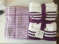 purple tea towels