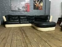 HARVEYS REAL LEATHER CORNER SOFA IN EXCELLENT CONDITION
