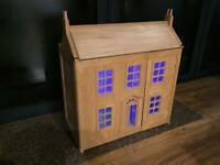 Large Classic Wooden Dolls House with LED lighting plus wooden furniture & a family of wooden dolls
