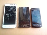 Samsung galaxy S2 Samsung wave s8500 and Cubot bobby for spare or repair