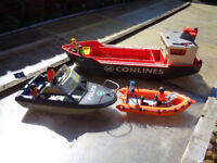 PLAYMOBIL POLICE BOAT, RESUCE DINGHY &CARGO SHIP
