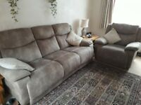 Reclining 3 seater sofa & chair
