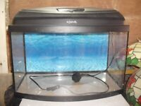 Bow fronted glass fish tank 50cm x 30cm x 25cm